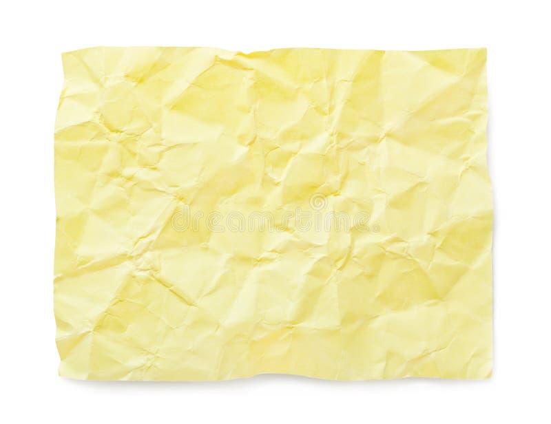 Gelb zerknittertes Anmerkungspapier lizenzfreie stockfotografie