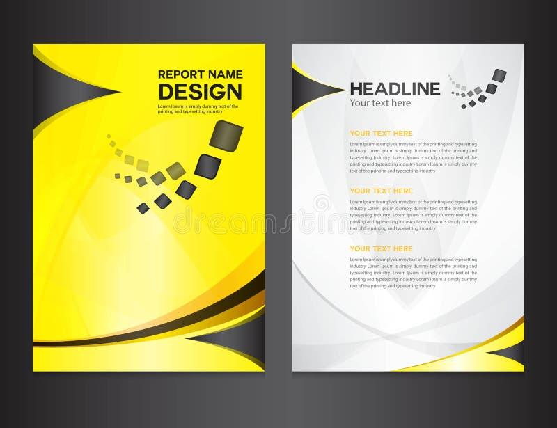 Gelbe Abdeckungs-Jahresberichtdesign-Vektorillustration stock abbildung