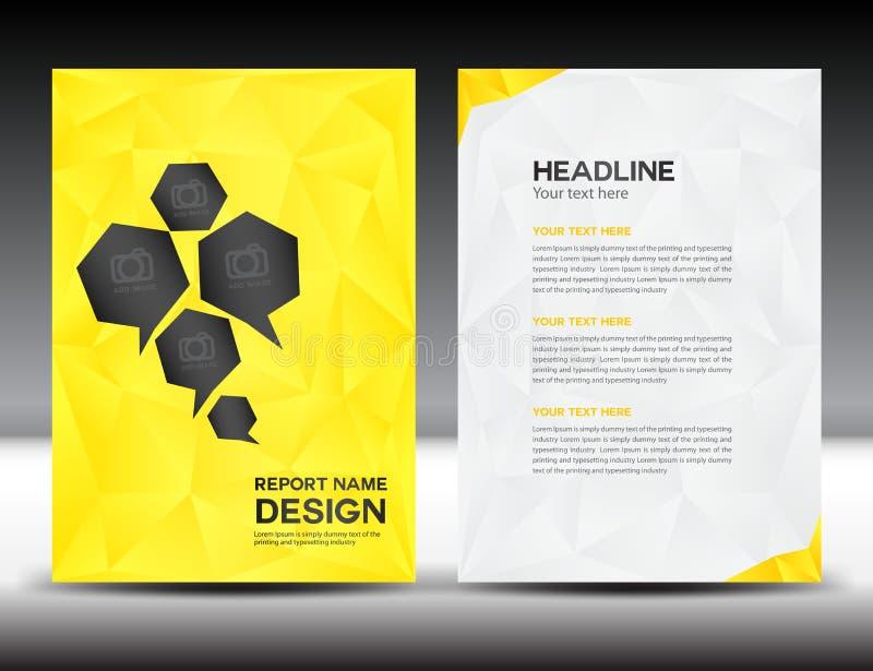 Gelbe Abdeckungs-Jahresberichtschablone, Polygonhintergrund, Broschürendesign, Abdeckung Schablone, Fliegerdesign, Portfolio stock abbildung