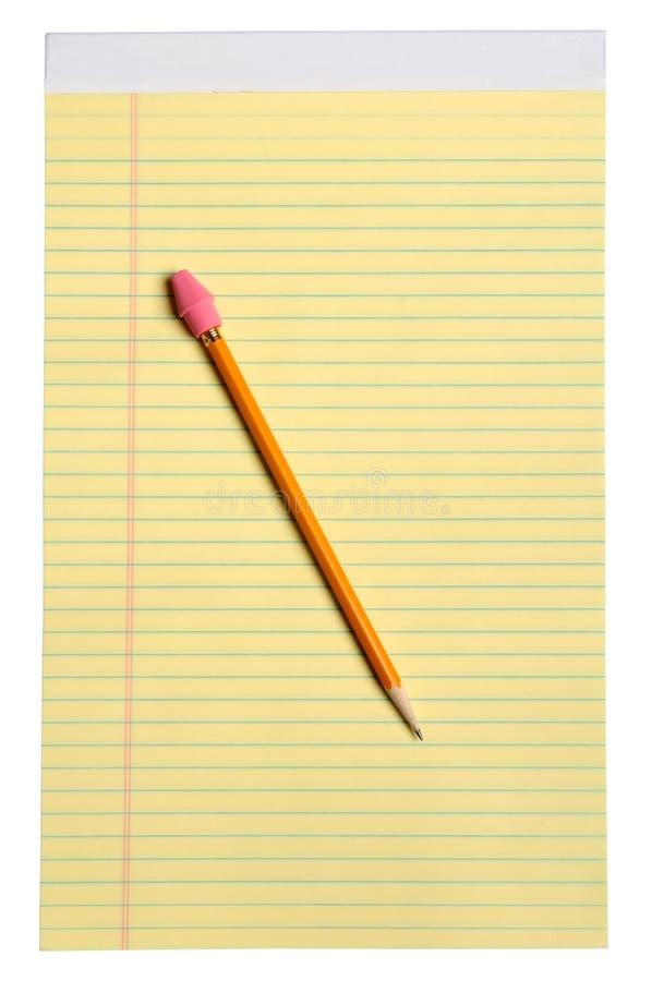 Gelbe Anmerkungs-Auflage mit Bleistift stockbilder