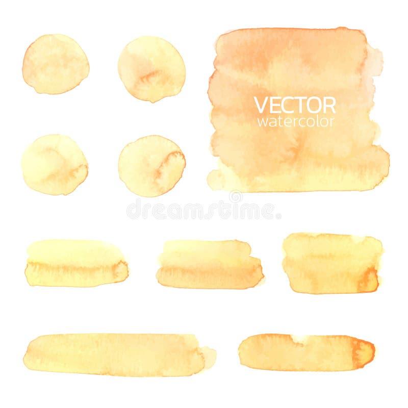 Gelbe Aquarellpinselanschläge Satz der Vektorbürste stock abbildung