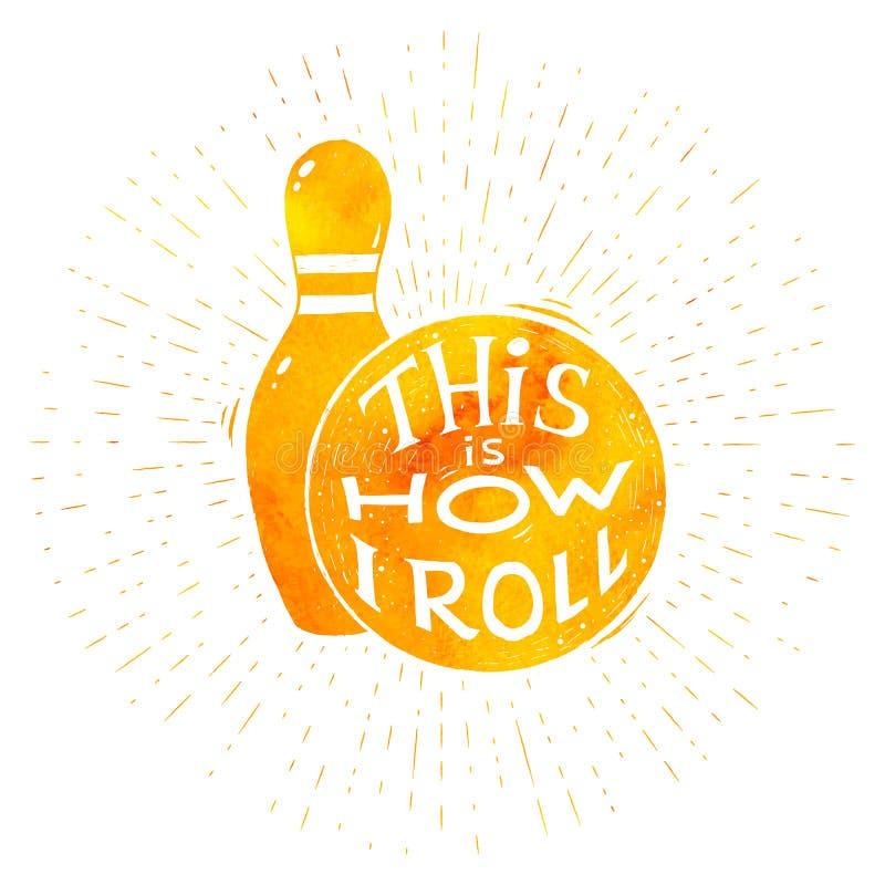 Gelbe Aquarellvektor-Bowlingspielsymbole mit Beschriftung stock abbildung