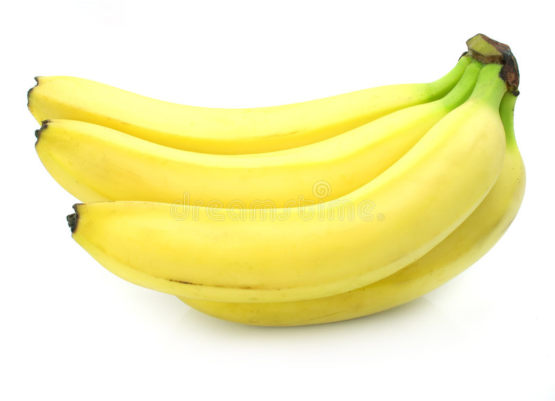 Gelbe Bananenfrüchte getrennt lizenzfreies stockfoto