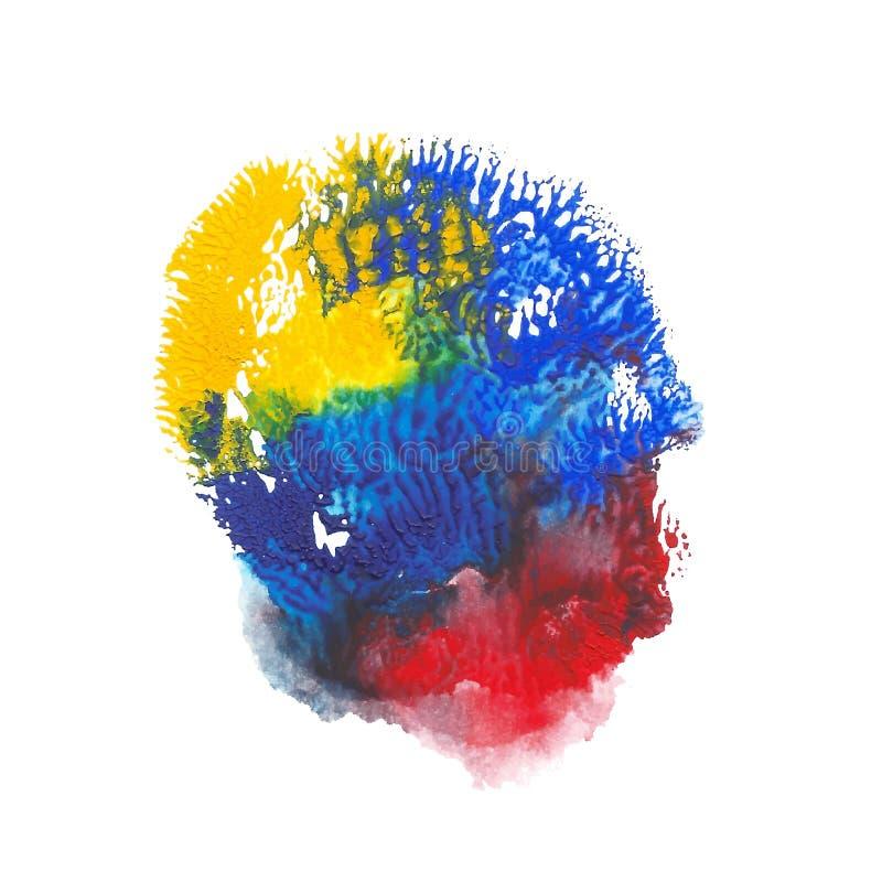 Gelbe, blaue, rote helle Farbacrylfarben-Zusammenfassungsstelle Korallenrotes geformtes Impressum lizenzfreie abbildung