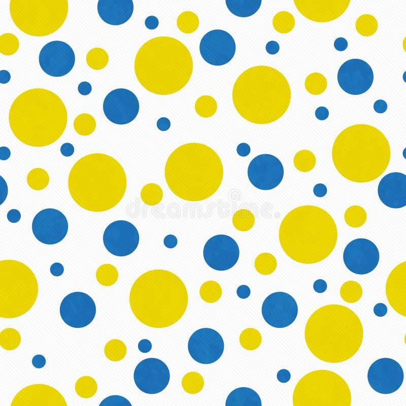 Gelbe, blaue und weiße Polka Dot Tile Pattern Repeat Background vektor abbildung