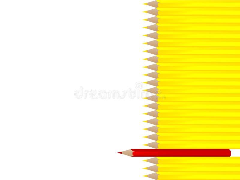 gelbe Bleistifte mit einzelnem Rot stock abbildung
