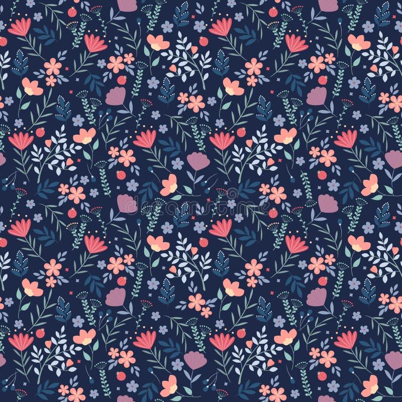 Gelbe Blumen, Basisrecheneinheit, Inneres mit Tropfen Hübsche Blumen auf dunkelblauem Hintergrund Druck mit kleinen bunten Blumen vektor abbildung