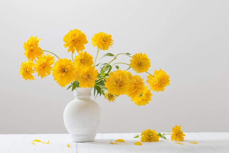 Gelbe Blumen Im Vase Auf Weißem Hintergrund Stockfoto - Bild von ...