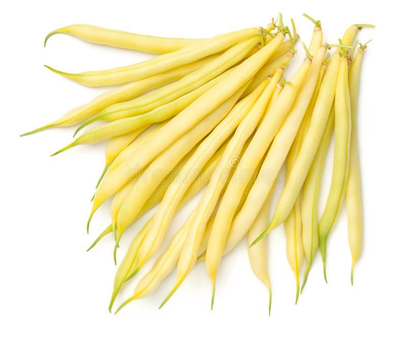 Gelbe Bohnen lokalisiert auf weißem Hintergrund stockbild