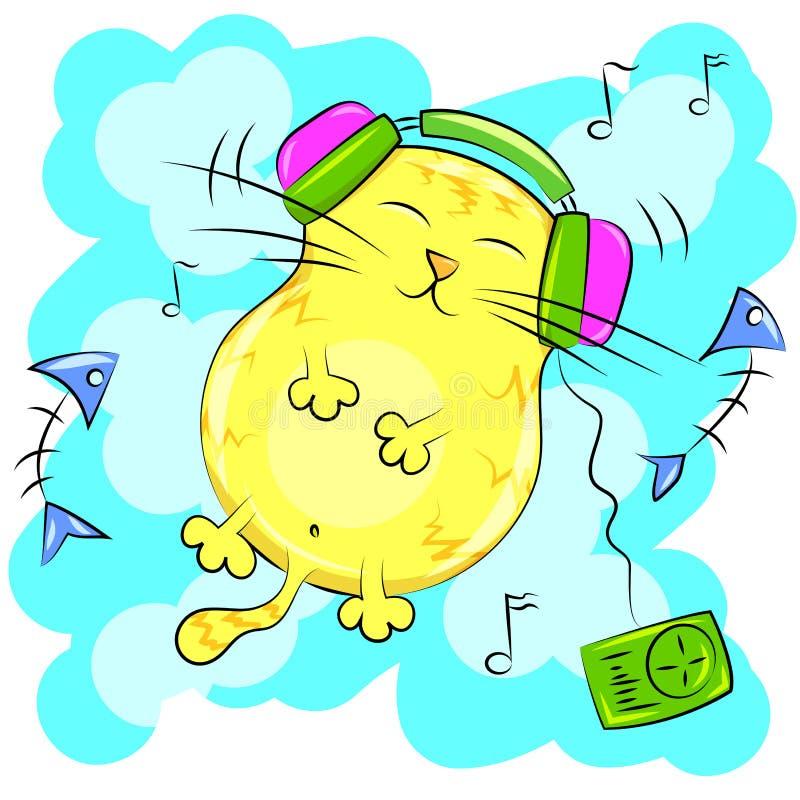 Gelbe Bonze, die Musik auf Kopfhörern hört lizenzfreie abbildung