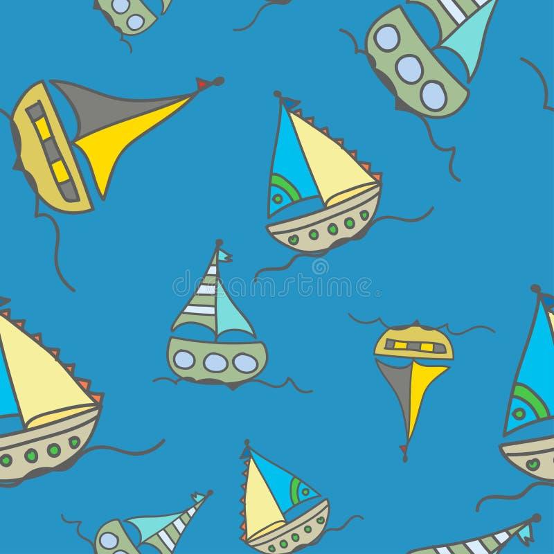 Gelbe Boote im Meer lizenzfreie abbildung