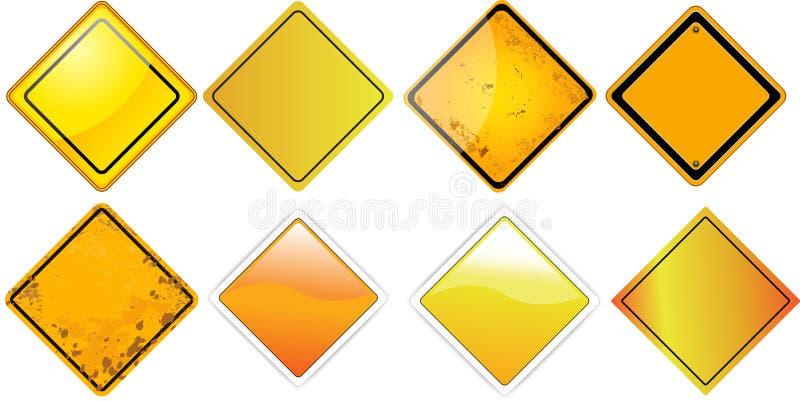 Gelbe Bretter des Verkehrszeichen-freien Raumes quadrieren vektor abbildung