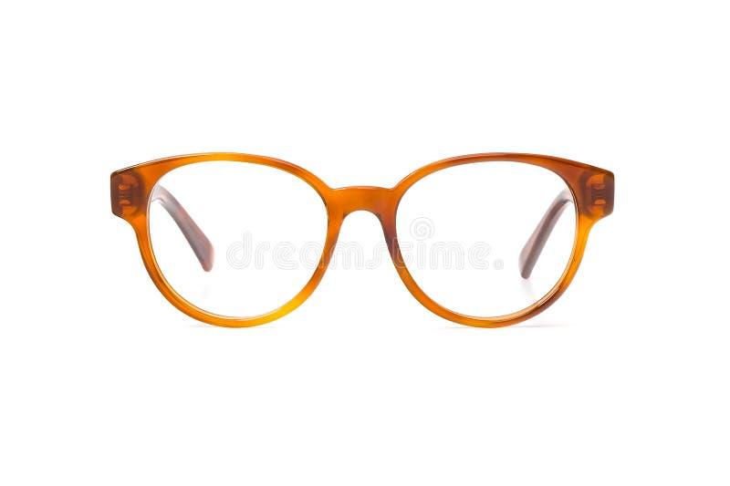 Gelbe Brillen im runden Rahmen transparent für das Ablesen oder gute Vision, Vorderansicht lokalisiert auf weißem Hintergrund lizenzfreie stockfotografie