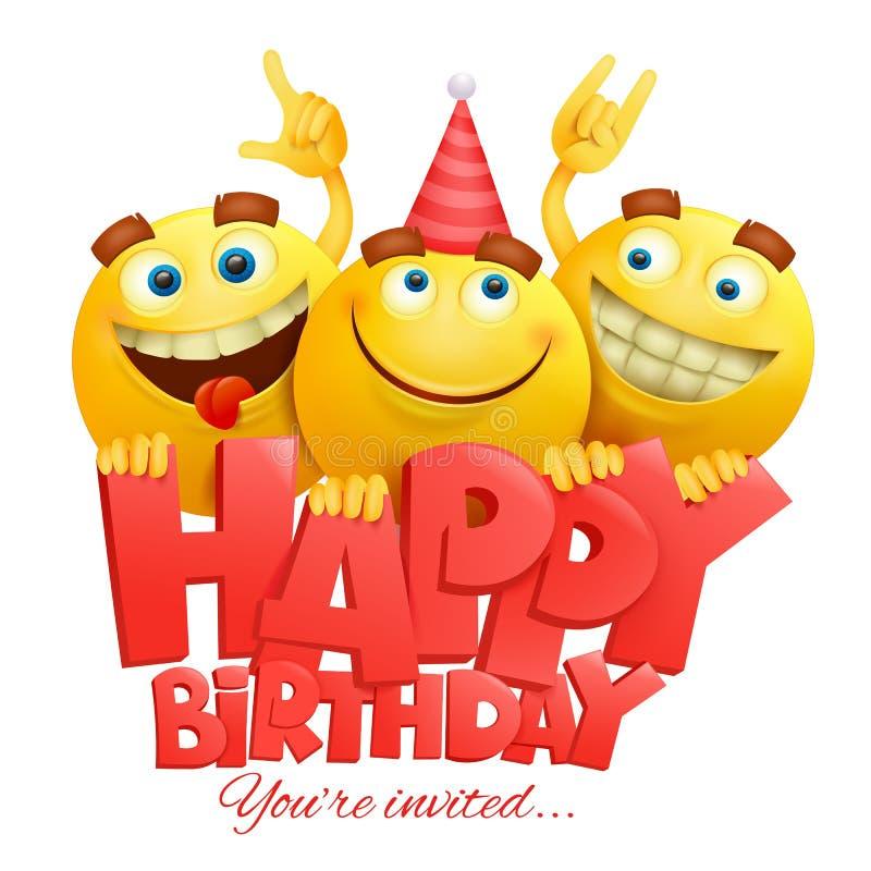 Gelbe Charaktere emoji Gesichter des smiley Alles Gute zum Geburtstagkarte stock abbildung
