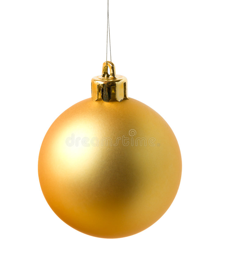 Gelbe cristmas Kugel lizenzfreie stockfotos