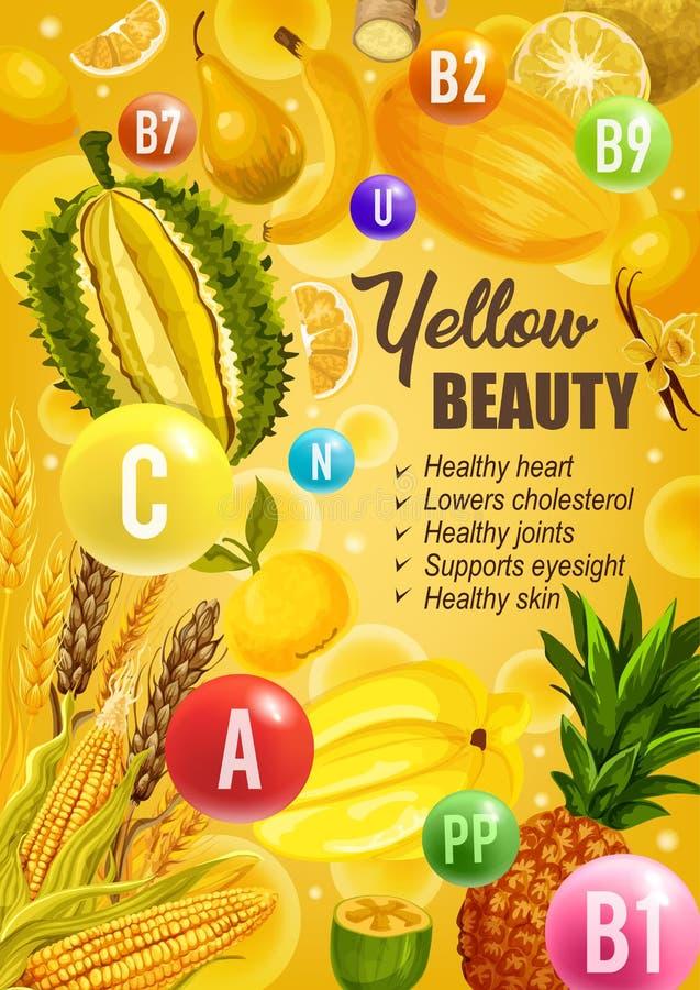 Gelbe Diätnahrung der Schönheit, Vitaminnahrung lizenzfreie abbildung