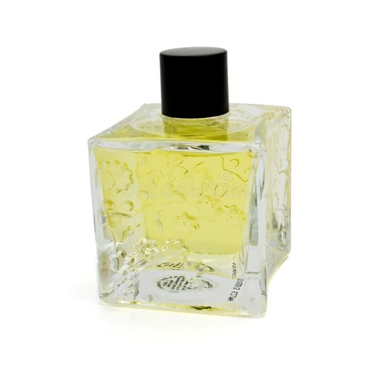 Gelbe Duftstoffflasche stockbild