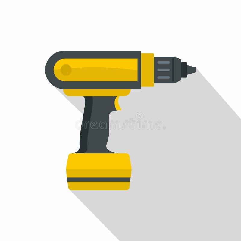 Gelbe Elektroschrauberbohrgerätikone, flache Art stock abbildung