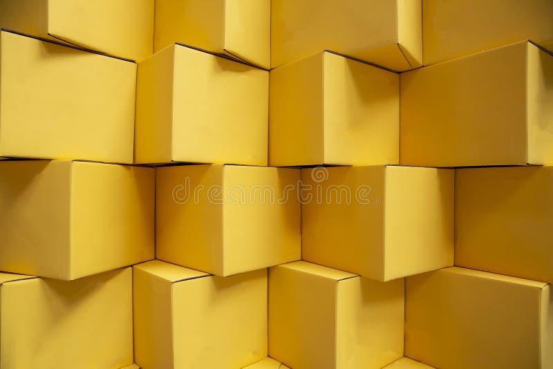 Gelbe Express-Pakete lizenzfreies stockfoto