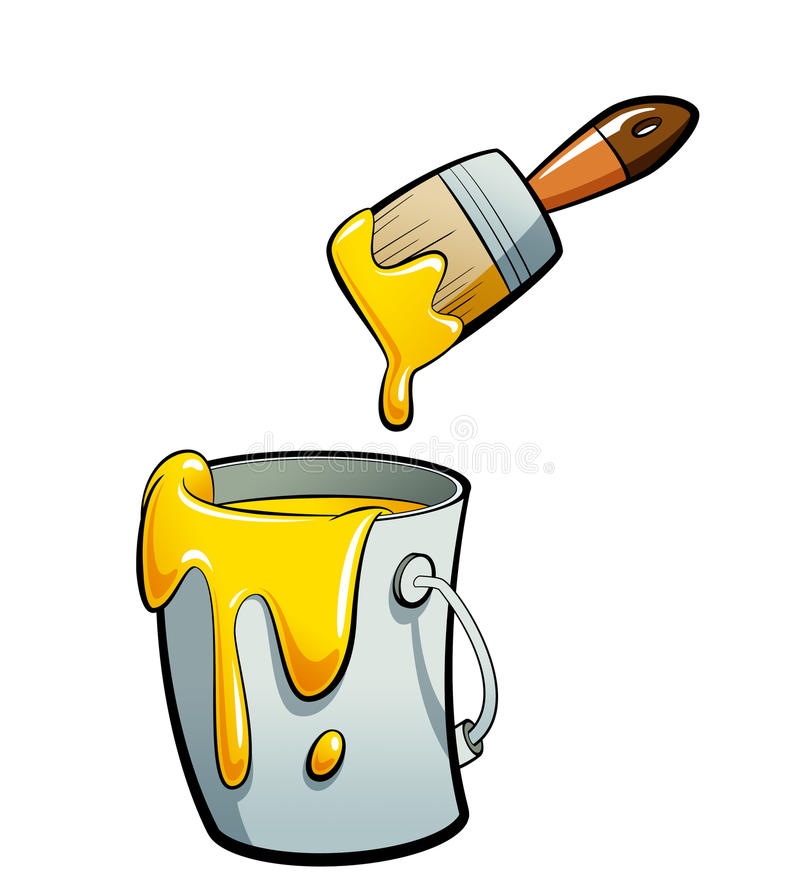 Gelbe Farbe der Karikatur Farbin einer Farbeimermalerei mit Farbe lizenzfreie abbildung