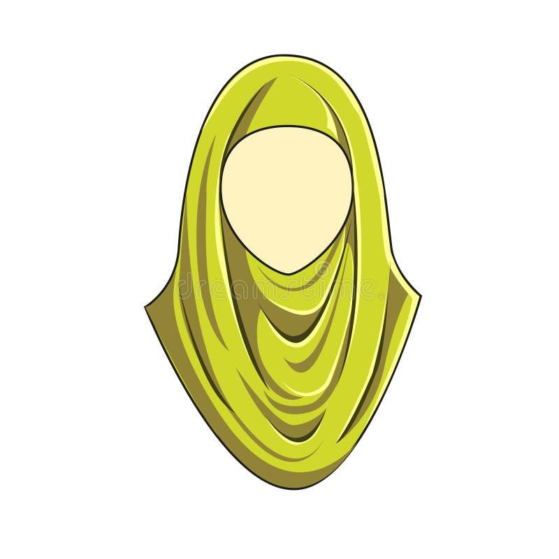 Gelbe Farbe Hijab-muslimah Vektors stockfotos