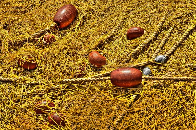 Gelbe Fischernetze stockfoto