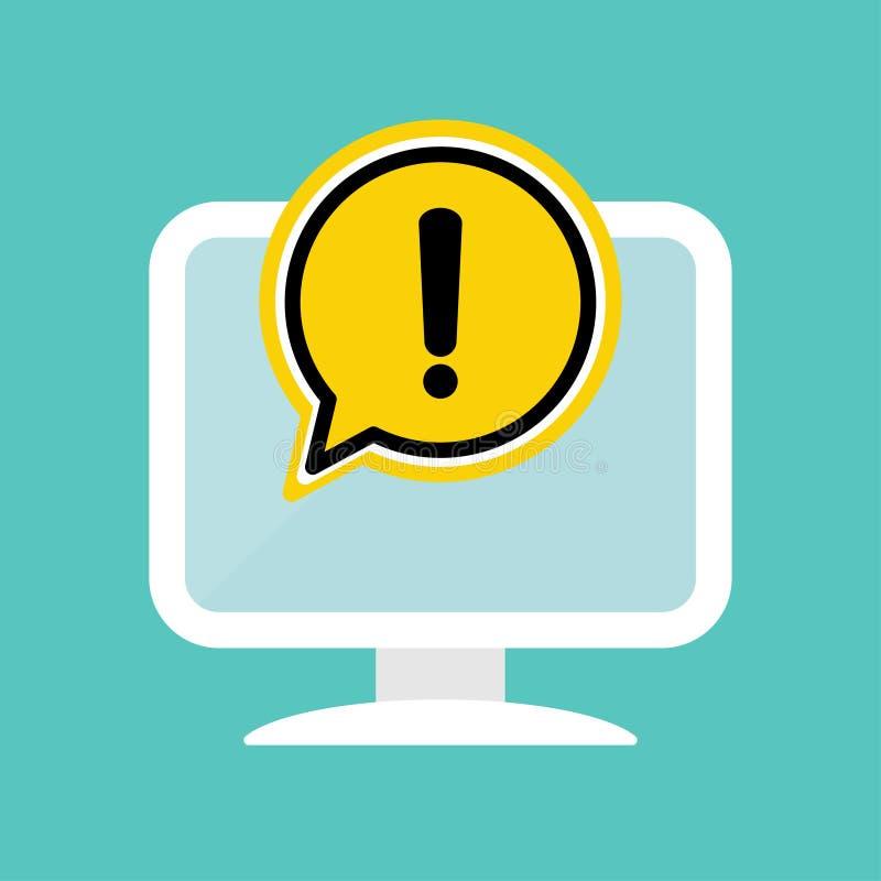 Gelbe Gefahrenwarnungsaufmerksamkeit oder -ausruf unterzeichnen in einer Spracheblase auf Computerikone Anwendungsfehler, Virusko stock abbildung