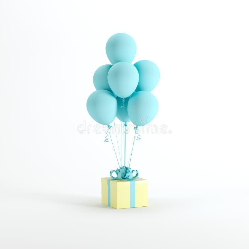 Gelbe Geschenkbox mit blauem Band und weiße blaue Ballone auf weißem Hintergrund stock abbildung