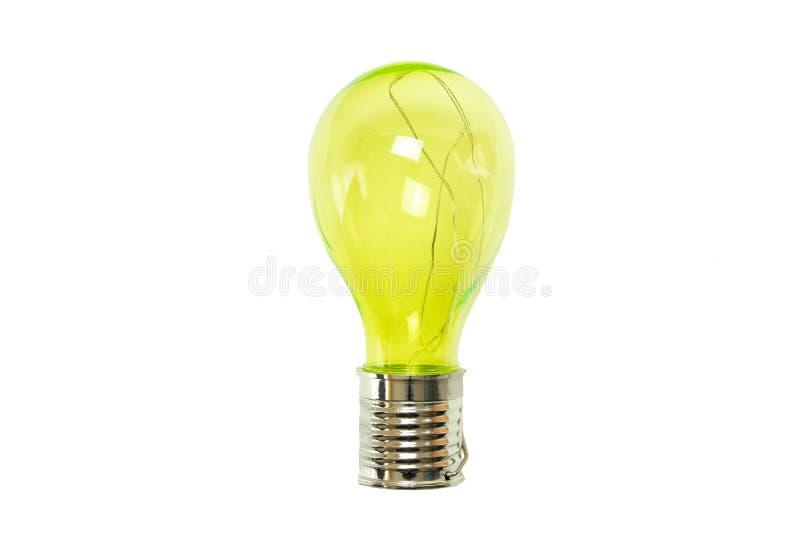 Gelbe Glühlampe auf weißem Hintergrund Abschluss oben lizenzfreie stockfotografie