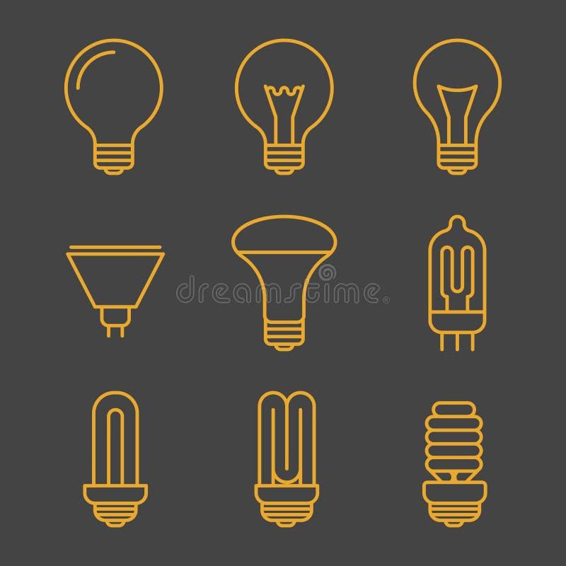 Gelbe Glühlampeentwurfsikonen lizenzfreie abbildung