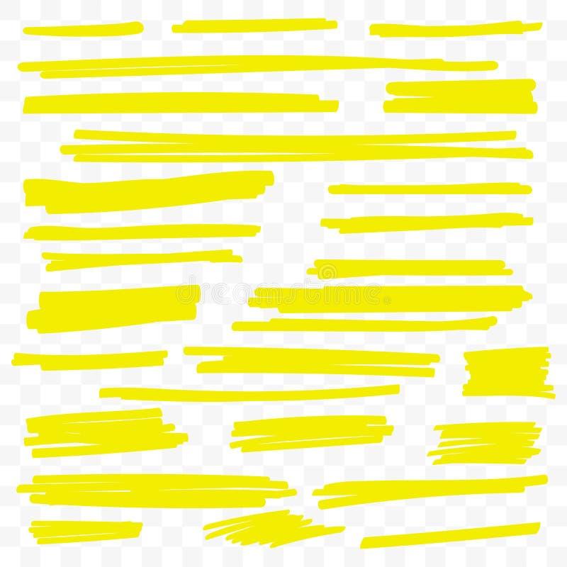 Gelbe Höhepunktmarkierungsvektorbürsten-Farbenlinien vektor abbildung