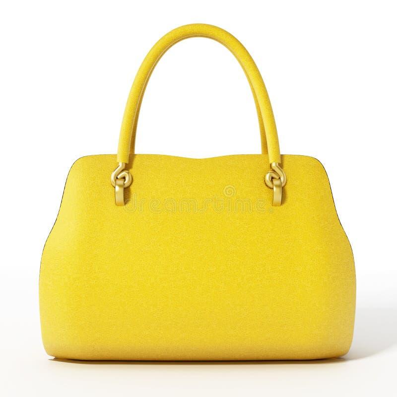Gelbe Handtasche lokalisiert auf weißem Hintergrund Abbildung 3D stock abbildung