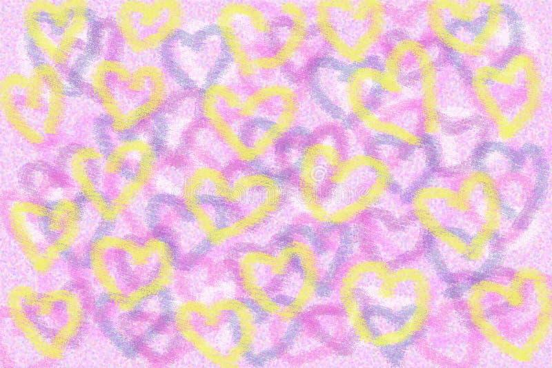 Gelbe Herzen auf einem rosa Hintergrund lizenzfreie stockfotos