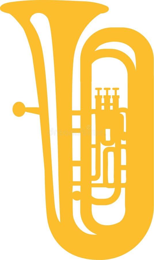 Gelbe Ikone der Tuba lizenzfreie abbildung