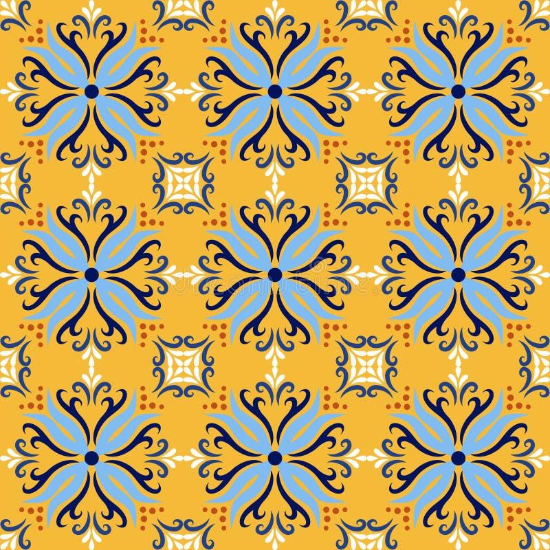 Gelbe italienische nahtlose Musterhintergründe des Keramikziegels Traditionelle aufwändige Farbfliesen azulejos Talaveras dekorat stock abbildung