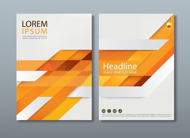 Gelbe Jahresberichtbroschürenflieger-Designschablone, Abdeckung lizenzfreie abbildung