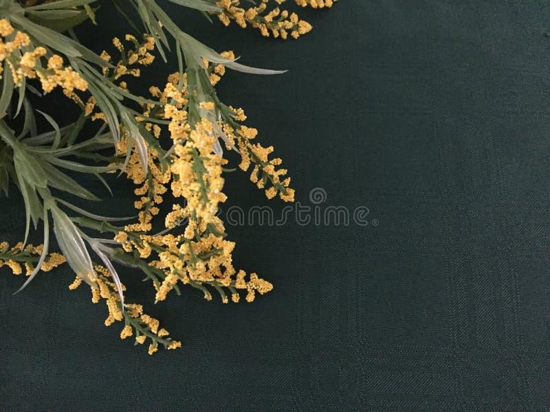Gelbe künstliche Blumen auf einem dunklen Stoff stockbild