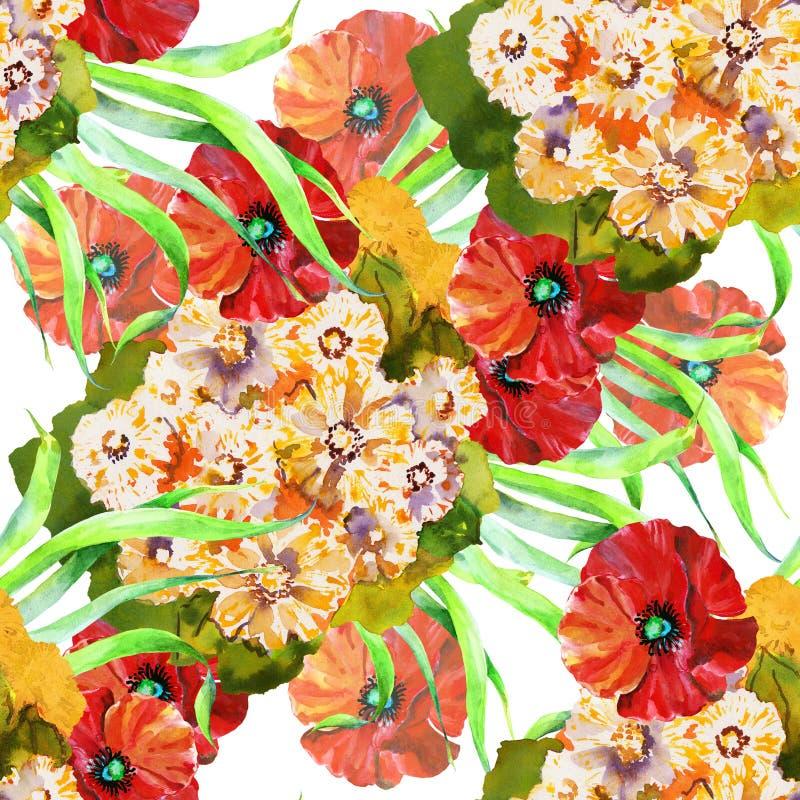 Gelbe Kamillen-Blumenstrauß mit Mohnblumen des Aquarells Nahtloses mit Blumenmuster lizenzfreie abbildung