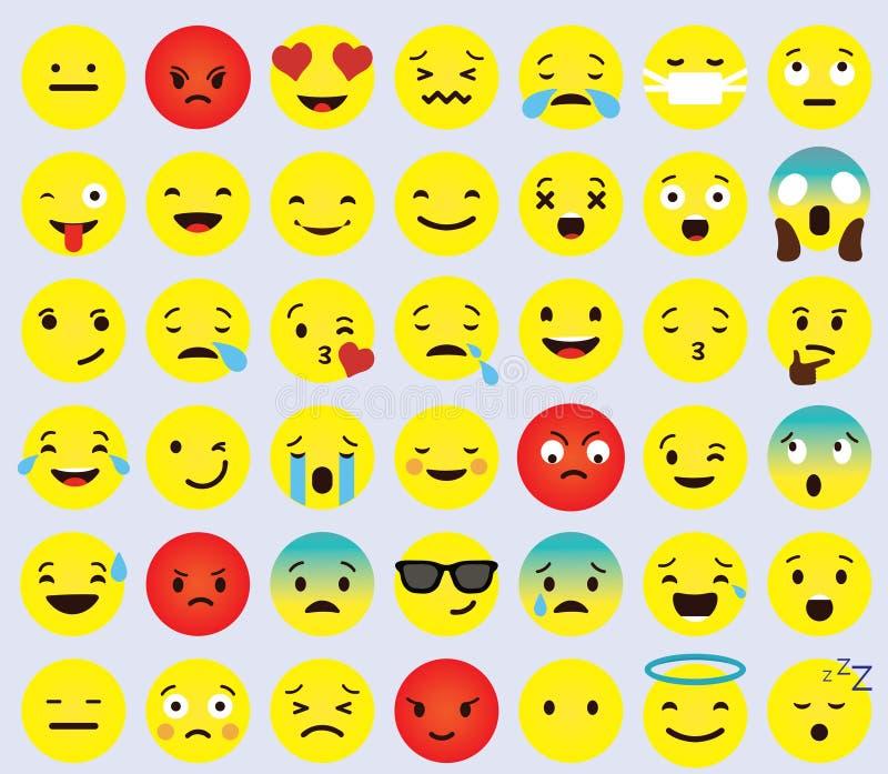 Gelbe Karikatur-Gesicht gesetzte Emoji-Leute-unterschiedliche Gefühl-Ikonen-Sammlung lizenzfreies stockbild