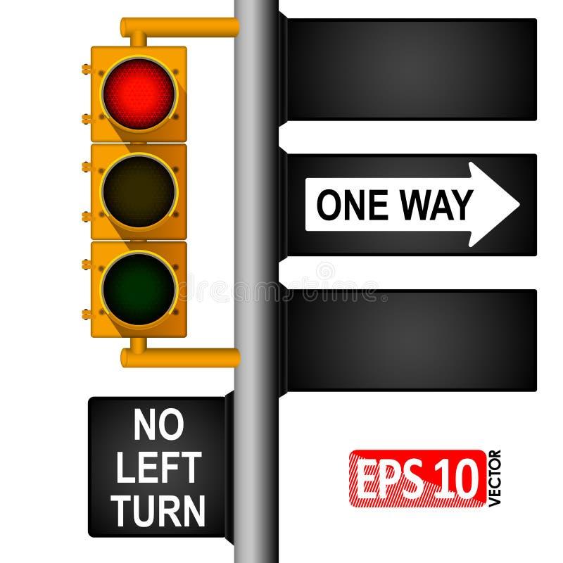 Gelbe klassische Ampel auf einem Pfosten in den USA Straße oben Regelung des Verkehrs lizenzfreie abbildung