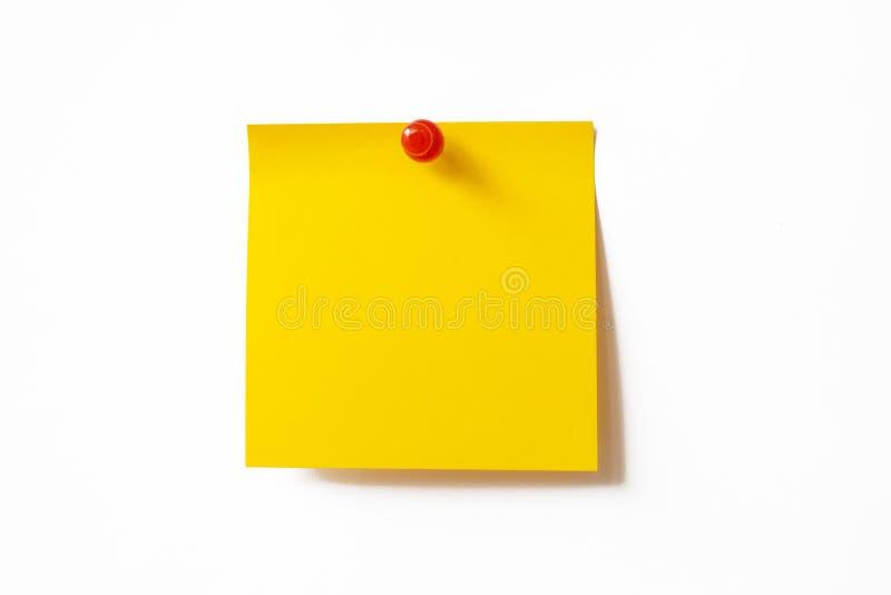 Gelbe klebrige Anmerkung stockfoto
