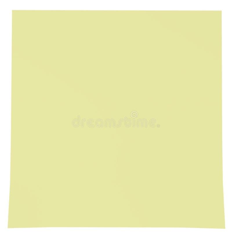 Gelbe klebrige Anmerkung getrennt auf Weiß lizenzfreie abbildung