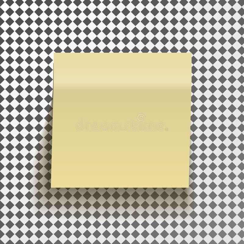 Gelbe klebrige Anmerkung lokalisiert auf transparentem Hintergrund Schablone für Ihre Projekte lizenzfreie abbildung