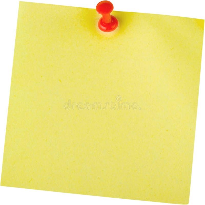 Gelbe klebrige Anmerkung mit Pin - lokalisiert stockbild