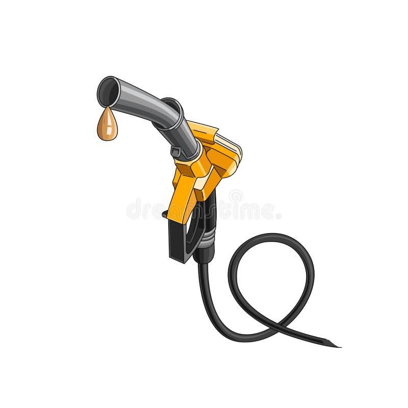 Gelbe Kraftstoffdüse mit dem Tropfen der Brennstoffillustration lokalisiert stock abbildung