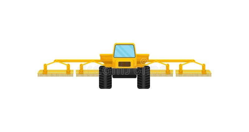Gelbe landwirtschaftliche Maschinerie für das Säen oder Feldbewässerung Landwirtschaftliche Maschinen Schwerer Schwerlastwagen Fl vektor abbildung