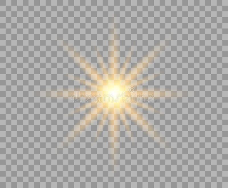 Gelbe leuchtende Sonne mit Radialstrahlen Ein heller goldener Lichtblitz Weihnachtsgestaltungselement lokalisierter Hintergrund stock abbildung