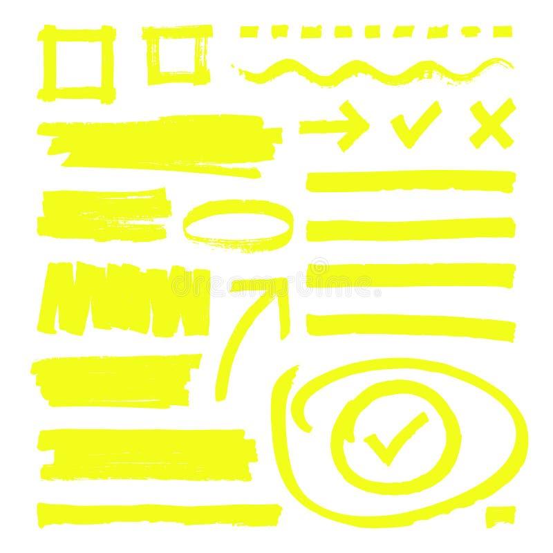 Gelbe Leuchtmarkerlinien, Pfeile und Rahmenkästen mit Schmutzbeschaffenheit lokalisierten Vektorvorrat stock abbildung