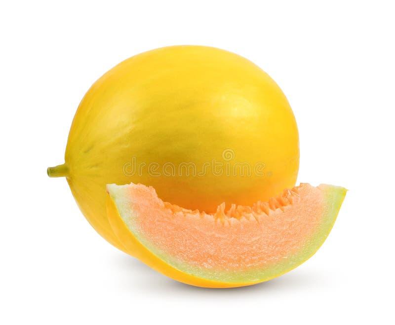 Gelbe Melone getrennt auf weißem Hintergrund lizenzfreie stockfotos