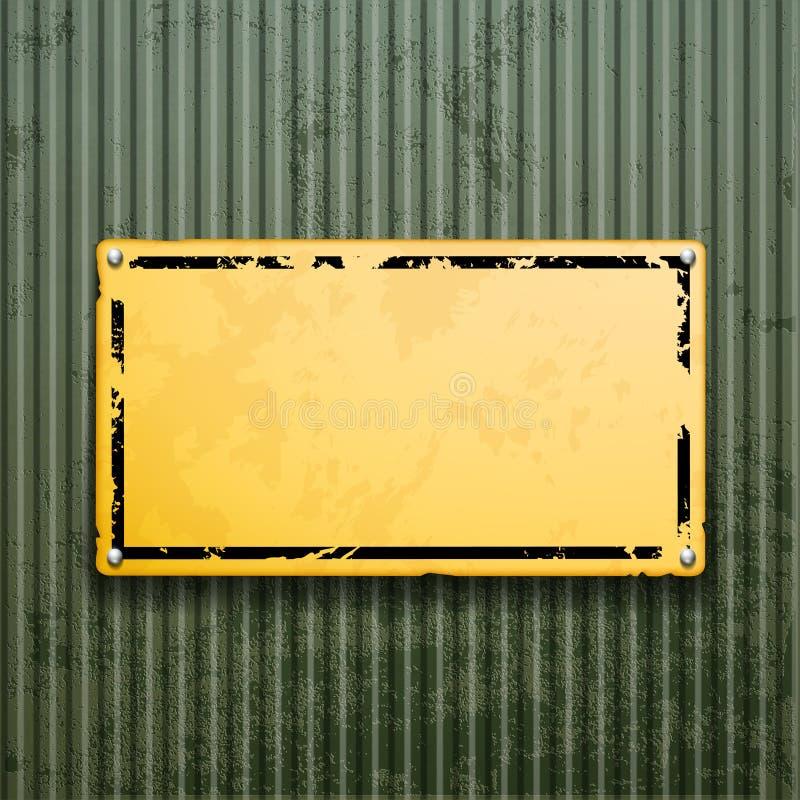 Gelbe Metallplatte auf alter Oberfläche des Schmutzes Industrieller Hintergrund stock abbildung